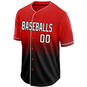Custom Red White-Black Fade Baseball Jersey