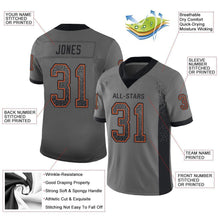 Load image into Gallery viewer, Custom Gray Black-Orange Mesh Drift Fashion Football Jersey