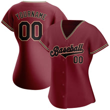 Load image into Gallery viewer, Custom Crimson Black-Khaki Authentic Baseball Jersey