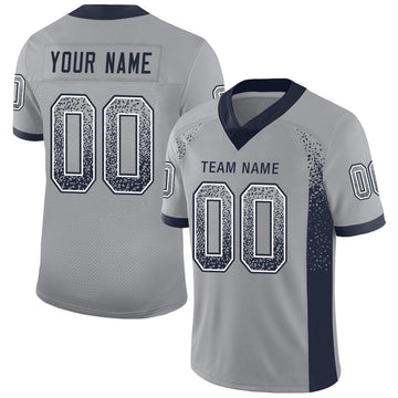 Custom Light Gray Navy-White Mesh Drift Fashion Football Jersey