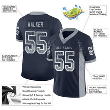 Load image into Gallery viewer, Custom Navy Light Gray-White Mesh Drift Fashion Football Jersey