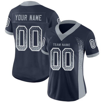 Custom Navy Light Gray-White Mesh Drift Fashion Football Jersey