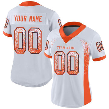 Custom White Orange-Navy Mesh Drift Fashion Football Jersey