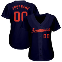 Load image into Gallery viewer, Custom Navy Orange Baseball Jersey