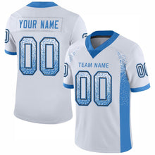 Load image into Gallery viewer, Custom White Powder Blue-Black Mesh Drift Fashion Football Jersey