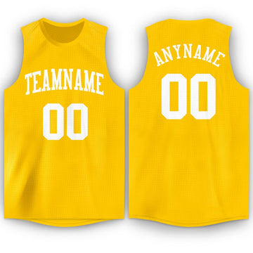 Custom Gold White Round Neck Basketball Jersey