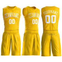 Load image into Gallery viewer, Custom Gold White Round Neck Suit Basketball Jersey