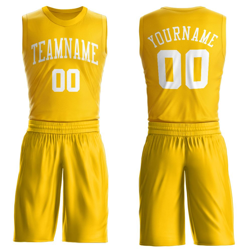 Custom Gold White Round Neck Suit Basketball Jersey
