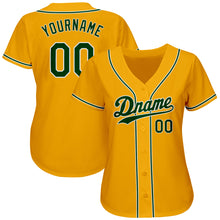 Load image into Gallery viewer, Custom Gold Green-White Authentic Baseball Jersey