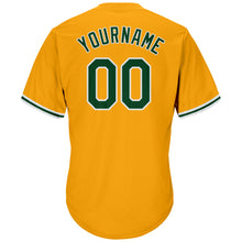 Load image into Gallery viewer, Custom Gold Green-White Authentic Throwback Rib-Knit Baseball Jersey Shirt