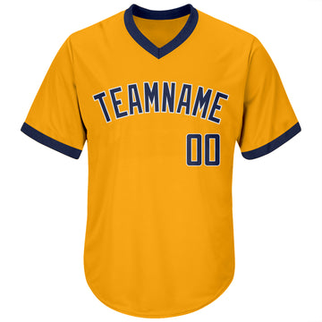 Custom Gold Navy-White Authentic Throwback Rib-Knit Baseball Jersey Shirt