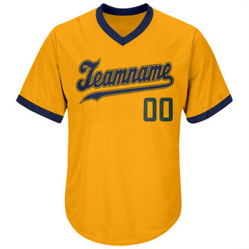 Custom Gold Hunter Green-Navy Authentic Throwback Rib-Knit Baseball Jersey Shirt