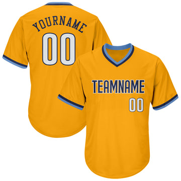 Custom Gold White-Navy Authentic Throwback Rib-Knit Baseball Jersey Shirt