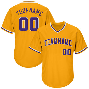 Custom Gold Purple-White Authentic Throwback Rib-Knit Baseball Jersey Shirt