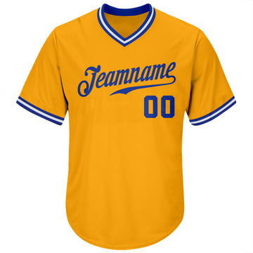 Custom Gold Royal-White Authentic Throwback Rib-Knit Baseball Jersey Shirt
