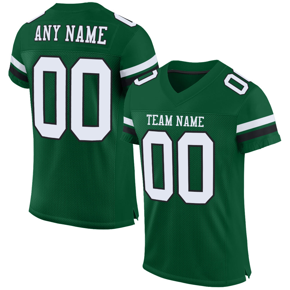 Custom Gotham Green White-Black Mesh Authentic Football Jersey