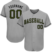 Load image into Gallery viewer, Custom Gray Olive-Black Authentic Memorial Day Baseball Jersey