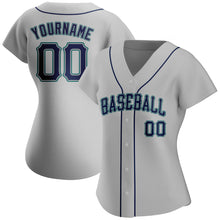 Load image into Gallery viewer, Custom Gray Navy-Aqua Authentic Baseball Jersey