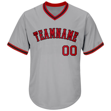 Custom Gray Red-Black Authentic Throwback Rib-Knit Baseball Jersey Shirt