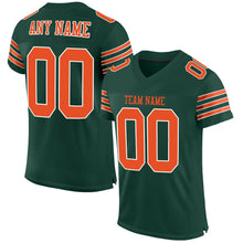 Load image into Gallery viewer, Custom Green Orange-White Mesh Authentic Football Jersey
