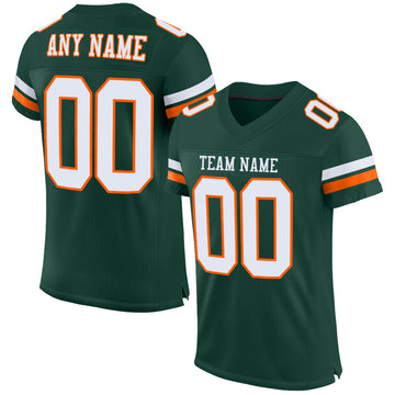 Custom Green White-Orange Mesh Authentic Football Jersey