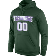 Load image into Gallery viewer, Custom Stitched Green White-Purple Sports Pullover Sweatshirt Hoodie