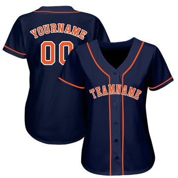 Custom Navy Orange-White Baseball Jersey