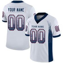 Load image into Gallery viewer, Custom White Navy-Red Mesh Drift Fashion Football Jersey