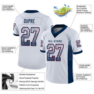 Custom White Navy-Red Mesh Drift Fashion Football Jersey
