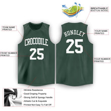 Load image into Gallery viewer, Custom Hunter Green White Round Neck Basketball Jersey - Fcustom