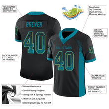 Load image into Gallery viewer, Custom Black Teal-Old Gold Mesh Drift Fashion Football Jersey