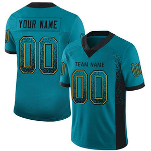 Custom Teal Black-Old Gold Mesh Drift Fashion Football Jersey