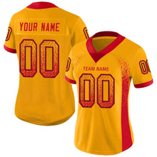 Load image into Gallery viewer, Custom Gold Scarlet-Black Mesh Drift Fashion Football Jersey