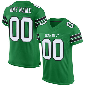 Custom Kelly Green White-Black Mesh Authentic Football Jersey