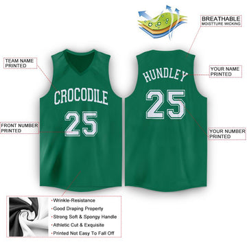 Custom Kelly Green White V-Neck Basketball Jersey - Fcustom