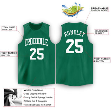 Custom Kelly Green White Round Neck Basketball Jersey - Fcustom