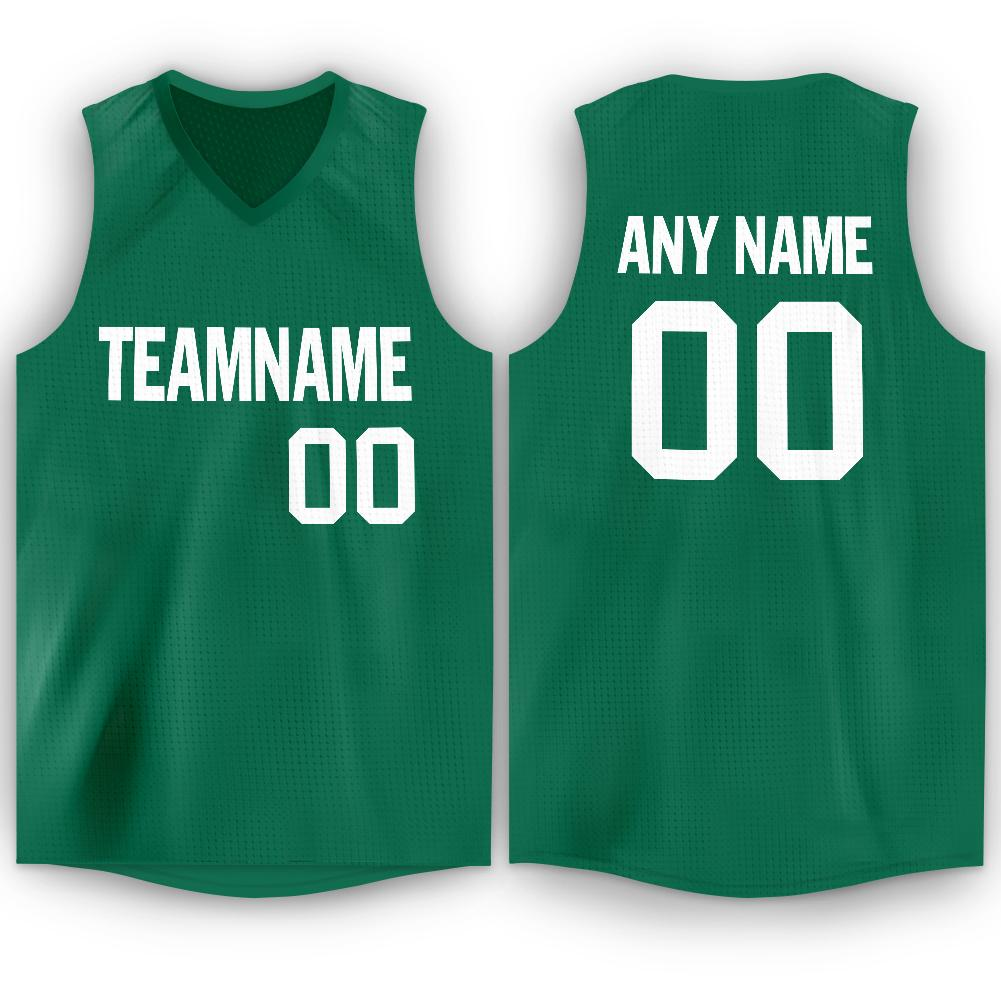 Custom Kelly Green White V-Neck Basketball Jersey