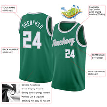 Load image into Gallery viewer, Custom Kelly Green White-Silver Gray Round Neck Rib-Knit Basketball Jersey