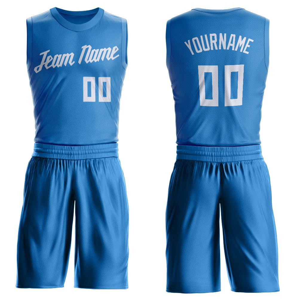 Custom Blue White Round Neck Suit Basketball Jersey - Fcustom