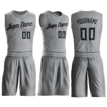 Custom Silver Gray Black Round Neck Suit Basketball Jersey - Fcustom