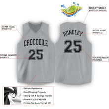 Load image into Gallery viewer, Custom Silver Gray Black V-Neck Basketball Jersey