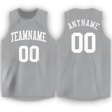 Custom Silver Gray White Round Neck Basketball Jersey - Fcustom