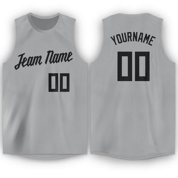 Custom Silver Gray Black Round Neck Basketball Jersey - Fcustom