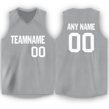 Custom Silver Gray White V-Neck Basketball Jersey - Fcustom