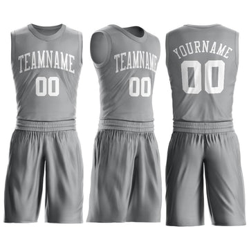 Custom Silver Gray White Round Neck Suit Basketball Jersey - Fcustom