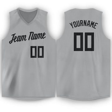 Custom Silver Gray Black V-Neck Basketball Jersey - Fcustom