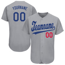 Load image into Gallery viewer, Custom Gray Royal-Red Baseball Jersey