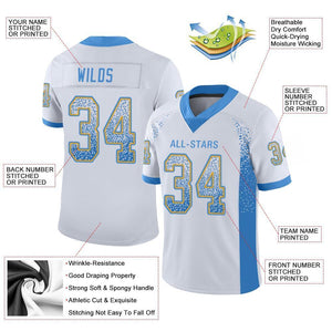 Custom White Powder Blue-Gold Mesh Drift Fashion Football Jersey