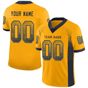 Custom Gold Navy-Powder Blue Mesh Drift Fashion Football Jersey