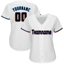 Load image into Gallery viewer, Custom White Black-Orange Baseball Jersey
